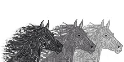 Wild Horse Drawing - Stallions Shades by Nick Gustafson