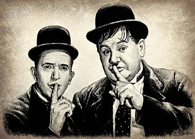 Stan And Ollie Sepia Effect Print by Andrew Read