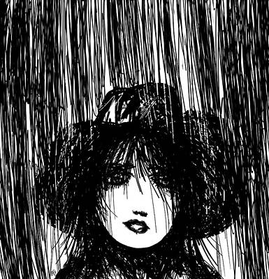 Thunder Drawing - Stand In The Rain by Rachel Christine Nowicki