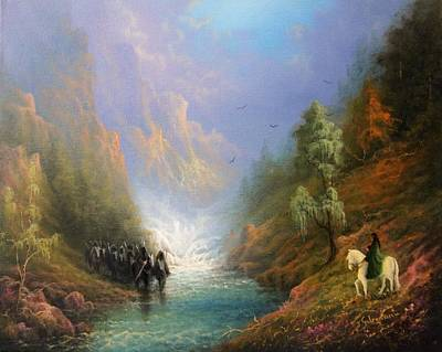 Arwen Painting - Arwen And Frodo Stand Off At The Ford by Joe Gilronan