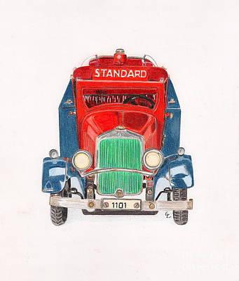Cast Iron Drawing - Standard Oil Tanker by Glenda Zuckerman