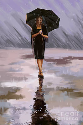Rain Painting - Standing-in-the-rain by Tim Gilliland
