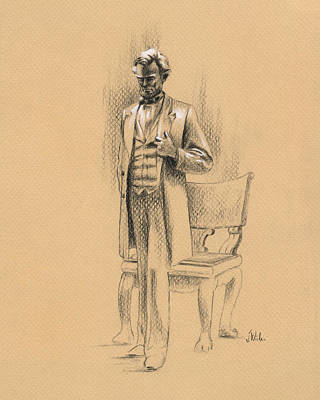 Pondering Lincoln Print by Joe Winkler