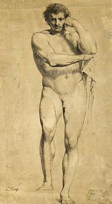 Drawing - Standing Male In The Pose Of Hercules by James Barry