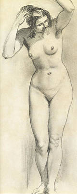 Bust Drawing - Standing Nude by William Edward Frost