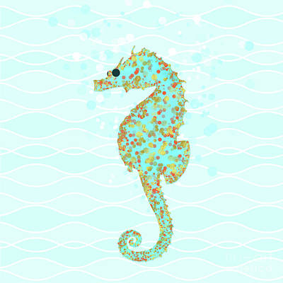 Seahorse Drawing - Stanley Seahorse Riding The Ocean Waves by Tina Lavoie