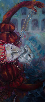Carnivale Painting - Star-crossed Lovers by Dorina  Costras