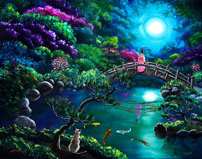 Star Gazing On Moon Bridge Original by Laura Iverson