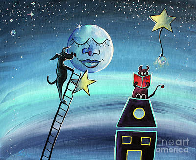 Moon Painting - Star Light Star Bright - For Children Paintings By Valentina Miletic by Valentina Miletic