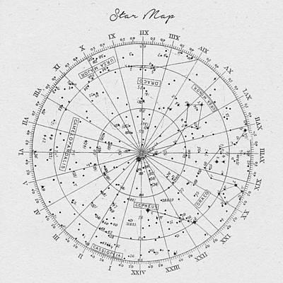 Astros Digital Art - Star Map by Taylan Apukovska
