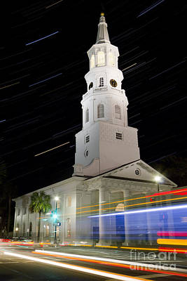 Star Trails Over St Michaels Church Charleston Sc Print by Dustin K Ryan