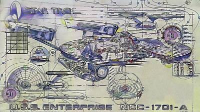 Star Trek  -  U.s.s. Enterprise Print by Nenad Cerovic