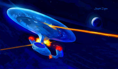 Explosion Digital Art - Star Trek Enterprise - Da by Leonardo Digenio