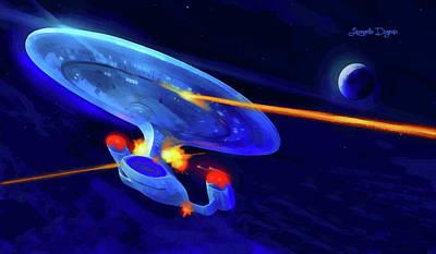 Mccoy Painting - Star Trek Enterprise by Leonardo Digenio