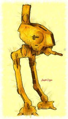 Robot Digital Art - Star Wars Assault Walking Robot - Da by Leonardo Digenio