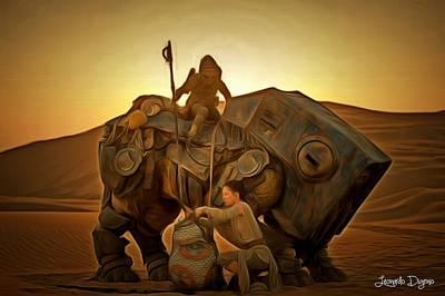 Death Painting - Star Wars At Jakku by Leonardo Digenio