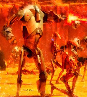 Fight Digital Art - Star Wars B2 Battle Droid  - Aquarell Style -  - Da by Leonardo Digenio