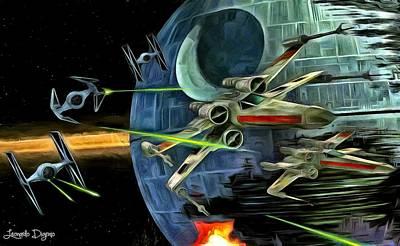 Bomber Painting - Star Wars Battle by Leonardo Digenio