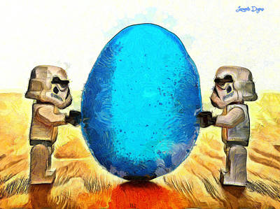 Lego Digital Art - Star Wars Blue Egg - Da by Leonardo Digenio