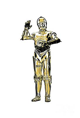Shirt Digital Art - Star Wars C-3po Droid Tee by Edward Fielding