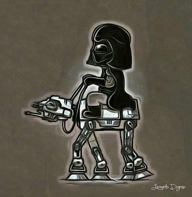 Galactic Digital Art - Darth Vader At Battle-horse by Leonardo Digenio