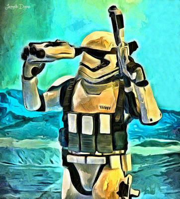 Rifle Painting - Star Wars First Order Stormtrooper - Pa by Leonardo Digenio