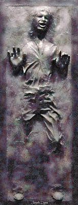 First Painting - Star Wars Han Solo Frozen In Carbonite - Pa by Leonardo Digenio