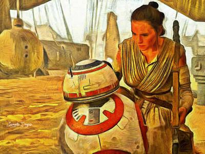Sitting Digital Art - Star Wars Rey And Bb-8  - Van Gogh Style -  - Da by Leonardo Digenio