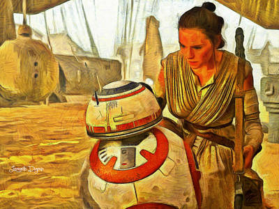 Hand Painting - Star Wars Rey And Bb-8  - Van Gogh Style -  - Pa by Leonardo Digenio