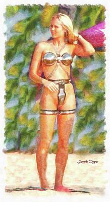 Slave Painting - Star Wars Sex Slave - Watercolor Over Paper by Leonardo Digenio