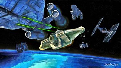 Fight Digital Art - Star Wars Shot - Da by Leonardo Digenio