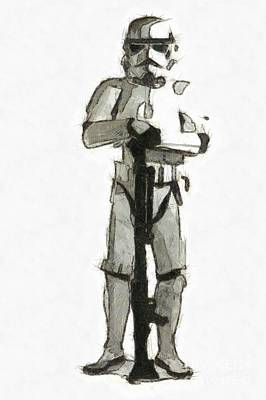 Science Fiction Drawing - Star Wars Storm Trooper Pencil Drawing by Edward Fielding
