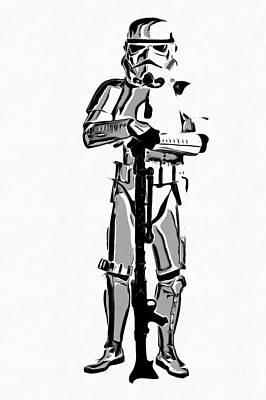 Imperial Drawing - Star Wars Stormtrooper Graphic Novel Fan Art Drawing by Edward Fielding