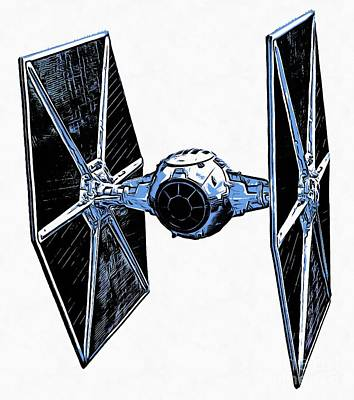Space Ships Drawing - Star Wars Tie Fighter by Edward Fielding