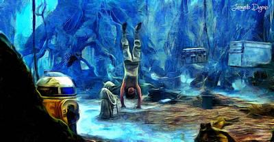 Levitation Painting - Star Wars Training Body And Mind by Leonardo Digenio