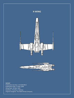 Star Wars X-wing Fighter Print by Mark Rogan