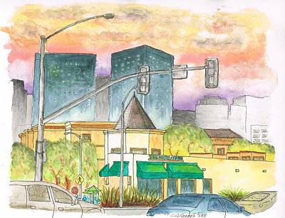Beverly Hills Painting - Starbucks-beverly-hills-century-city-ca by Carlos G Groppa