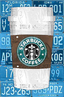 Starbucks Coffee Mixed Media - Starbucks Coffee Cup Recycled Vintage License Plate Pop Art by Design Turnpike