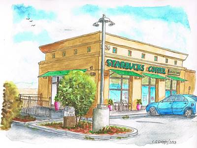 Starbucks Coffee Painting - Starbucks Coffee In Barstow - Ca by Carlos G Groppa