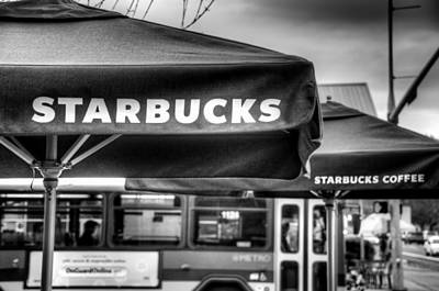Starbucks Coffee Photograph - Starbucks Umbrella by Spencer McDonald
