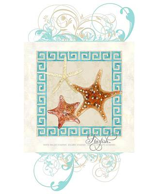Starfish Greek Key Pattern W Swirls Print by Audrey Jeanne Roberts