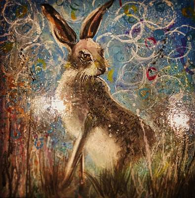 March Hare Painting - Staring Hare  by Carole Hall