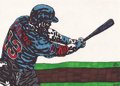 Chicago Baseball Drawing - Starlin Castro by Jeremiah Colley