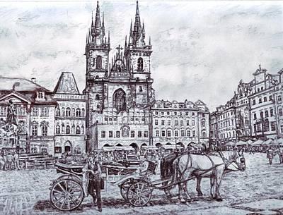 Praha Drawing - Staromestske Namesti by Gordana Dokic Segedin