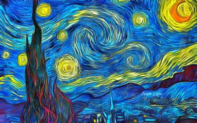 Futuristic Digital Art - Starry Night By Vincent Van Gogh Revisited - Da by Leonardo Digenio