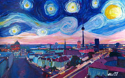 Berlin Germany Painting - Starry Night In Berlin - Van Gogh Inspirations In Germany With Skyline by M Bleichner