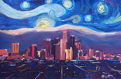 Starry Night In Los Angeles - Van Gogh Inspirations With Skyline And Mountains Original by M Bleichner
