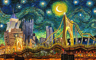 Architecture Digital Art - Starry Night In Pittsburgh by Frank Harris