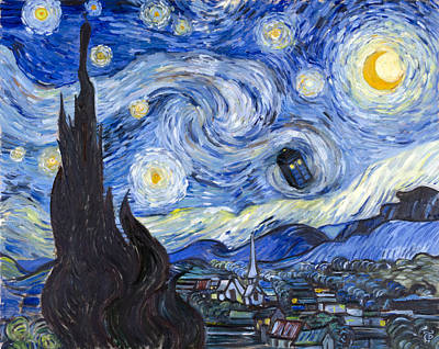 Dr. Who Painting - Starry Night With Tardis by Theresa Pisani