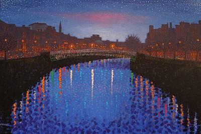 Starry Nights In Dublin Ha' Penny Bridge Original by John  Nolan